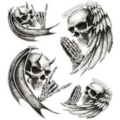 DECAL SKULLS ANGEL & DEVIL 2 PIECES