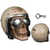 Spardose Totenkopf mit Motorradhelm