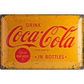 Retro Metal Sign Coca-Cola Yellow Logo