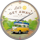 Retro wandklok VW Bulli - Let's Get Away