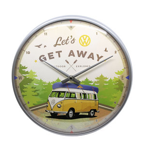 Retro Wallclock VW Bus - Let's Get Away