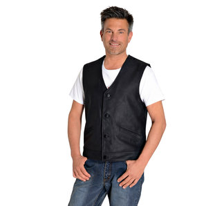 Button leather vest