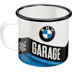 Retro Emaille Becher - BMW Garage