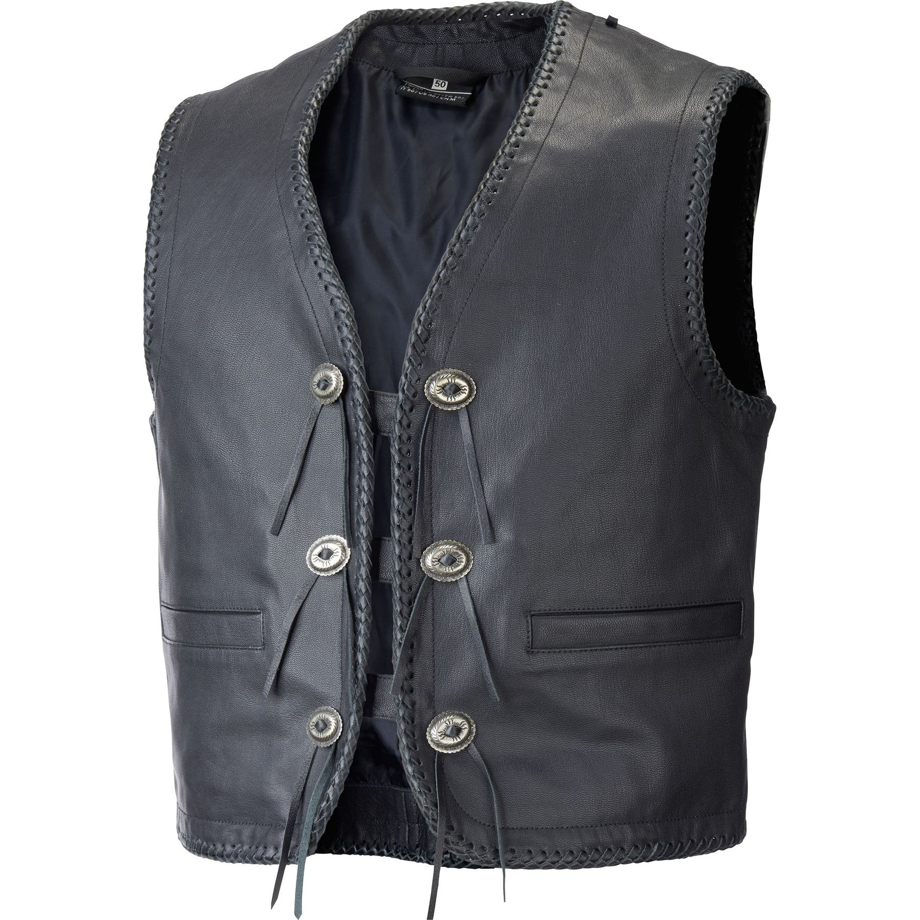 Leather Motorcycle Button Vest Motorbike Biker Rider Braided Touring Cruser Vest
