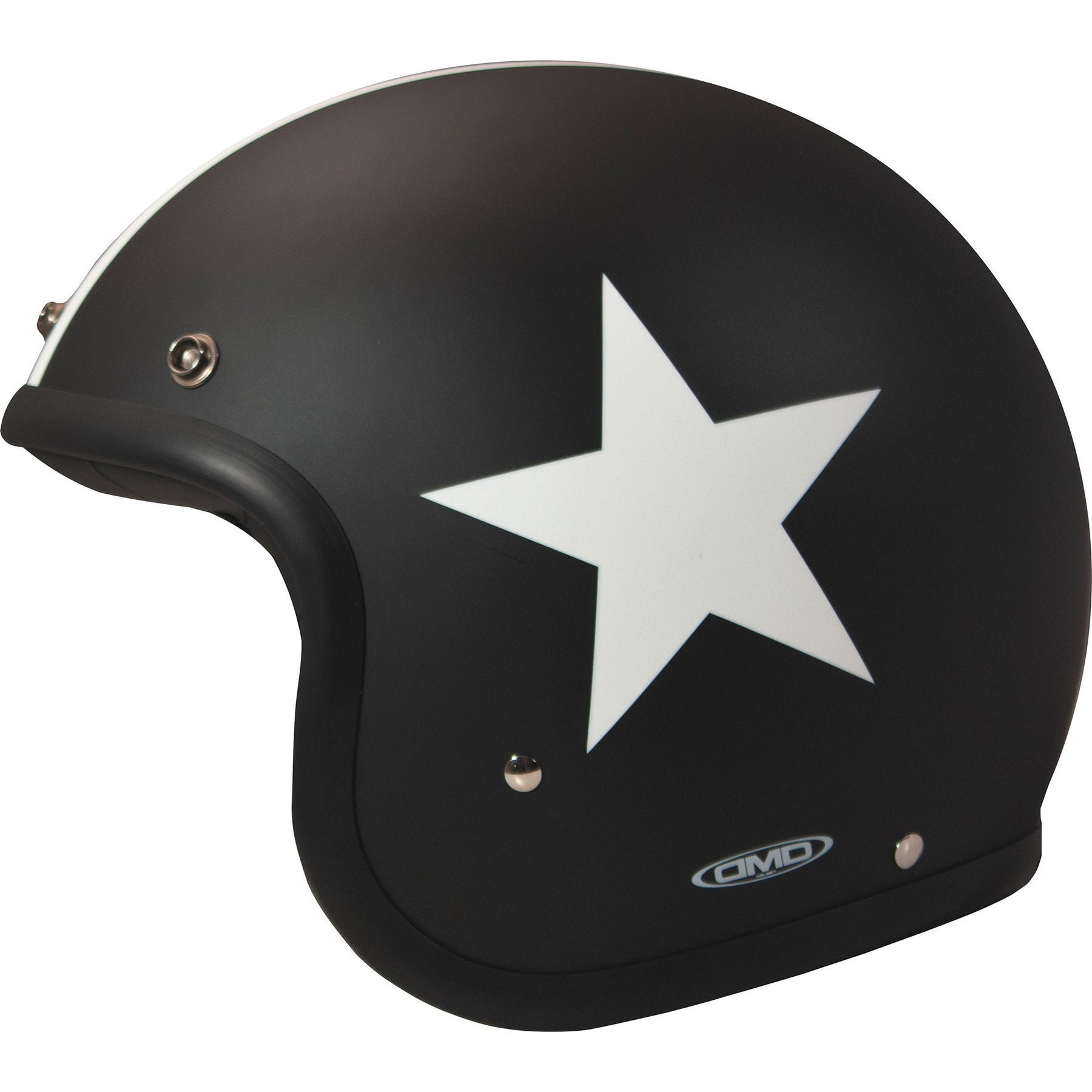 Motorrad Jet Helm DMD Vintage Mattschwarz Uni Gr XS