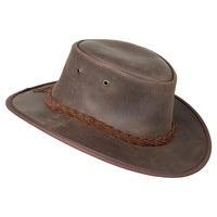 BROWN LEATHER HAT, L FOLDAWAY OILED COWHIDE